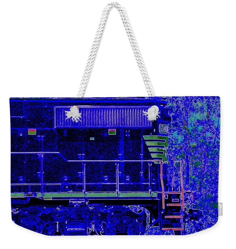Train Weekender Tote Bag featuring the photograph Blue Loco by J R Seymour