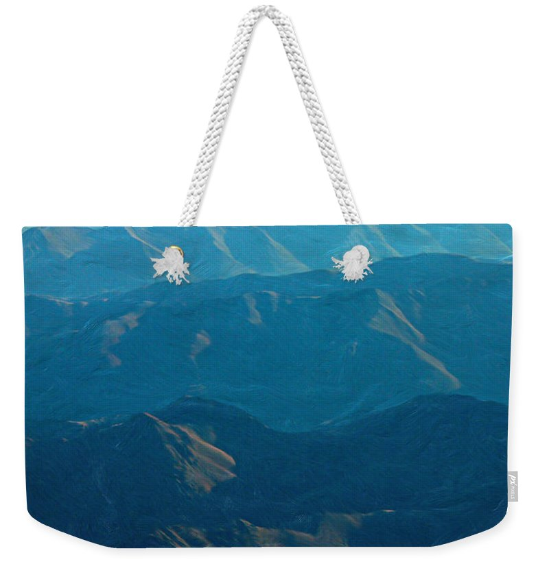 Blue Weekender Tote Bag featuring the photograph Blue Mountains by Peggy Starks