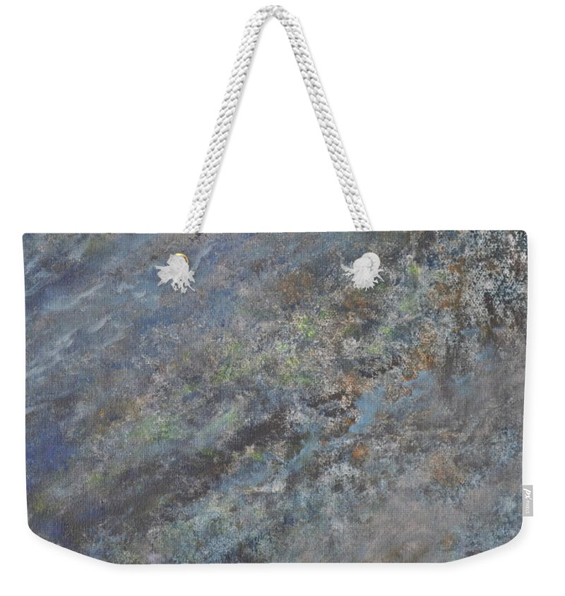 Blue Abstract Weekender Tote Bag featuring the painting Blue Nebula #2 by Penny Neimiller
