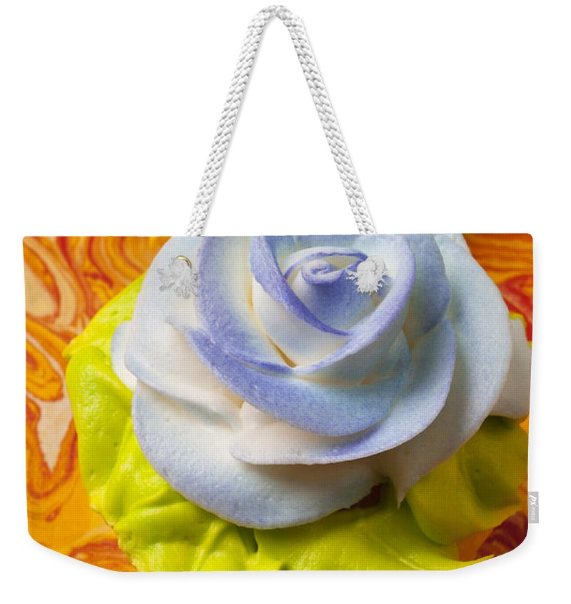 Cupcake Weekender Tote Bag featuring the photograph Blue Rose Cup Cake by Garry Gay