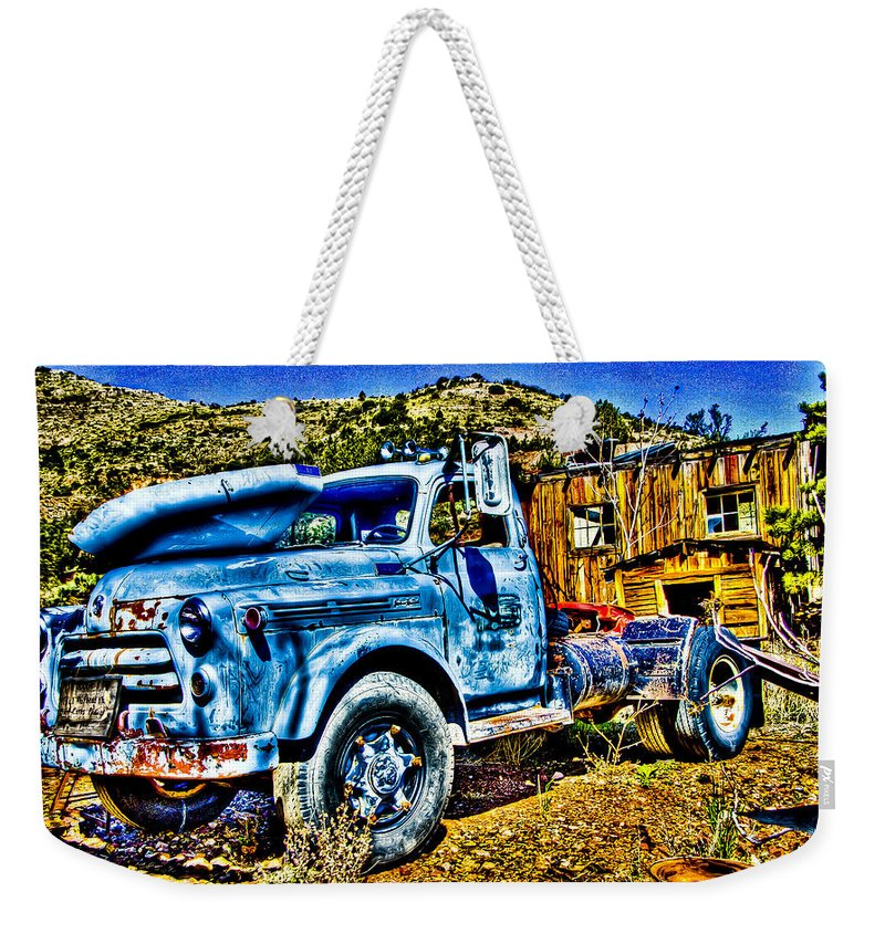 Old Truck Weekender Tote Bag featuring the photograph Blue Truck by Jon Berghoff