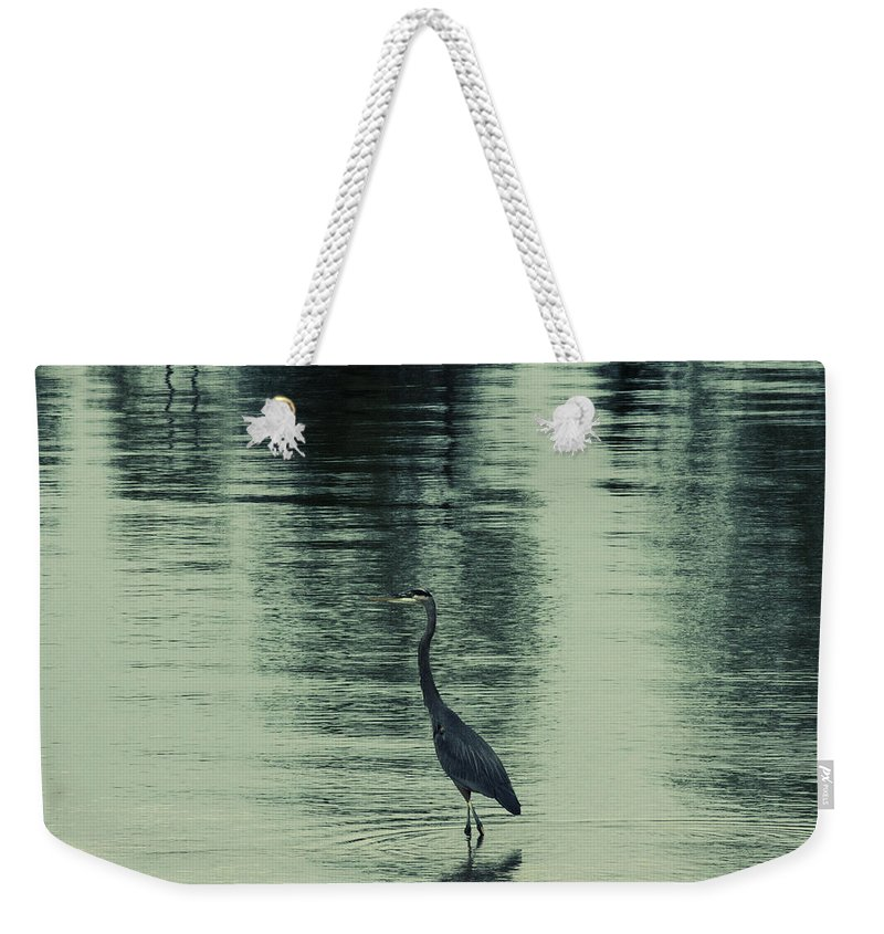 Blue Heron Weekender Tote Bag featuring the photograph Bluegreen Lake by Douglas Barnard