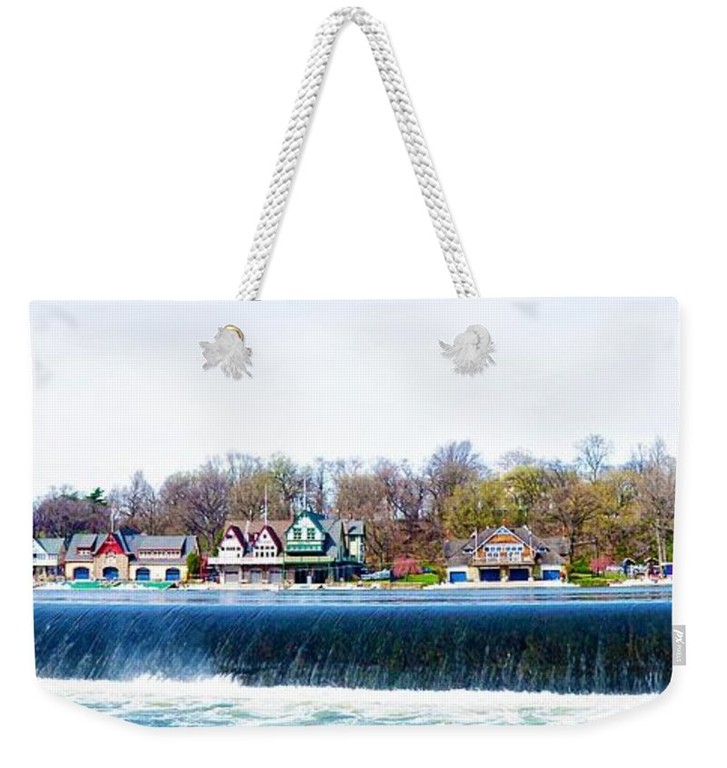 Boathouse Row From Fairmount Dam Weekender Tote Bag featuring the photograph Boathouse Row From Fairmount Dam by Bill Cannon