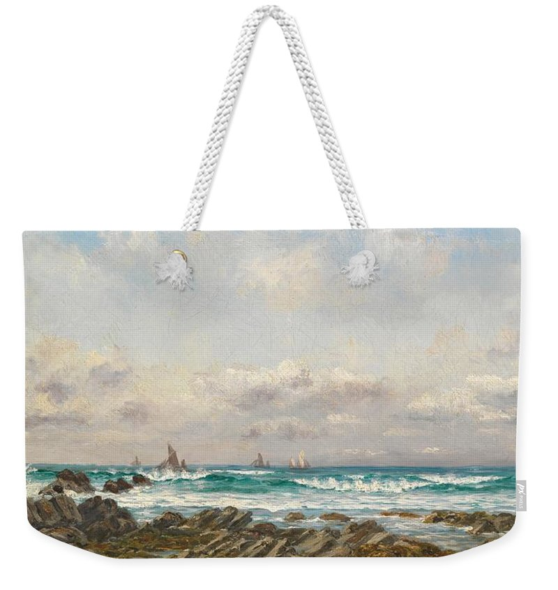 Seascape Weekender Tote Bag featuring the painting Boats At Sea by William Lionel Wyllie