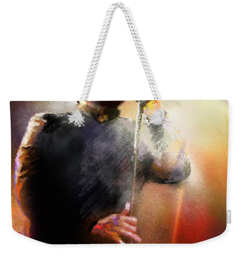 Musicians Weekender Tote Bag featuring the painting Bobby Kimball From Toto 01 by Miki De Goodaboom