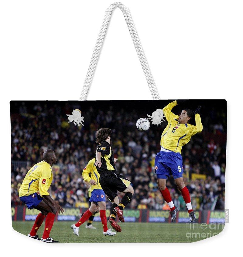 Bojan Weekender Tote Bag featuring the photograph Bojan Krkic Stroke by Agusti Pardo Rossello