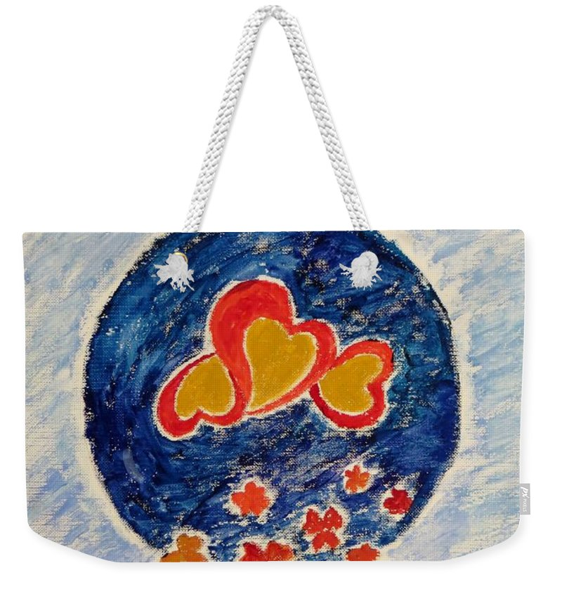 Gold Magnanimous Hearts Reflecting Love Weekender Tote Bag featuring the painting Bonding by Sonali Gangane