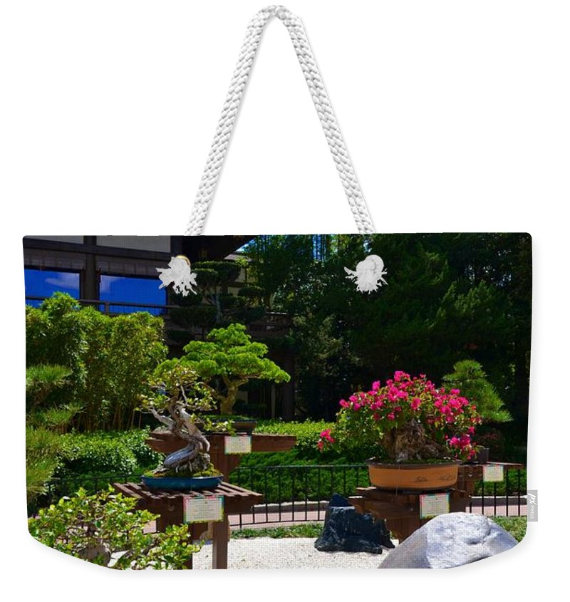 Photo Weekender Tote Bag featuring the photograph Bonsai Garden by Bonnie Myszka
