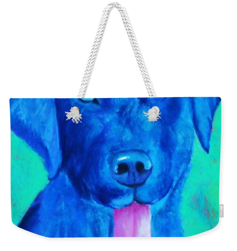 Lab Weekender Tote Bag featuring the painting Boomer by Melinda Etzold