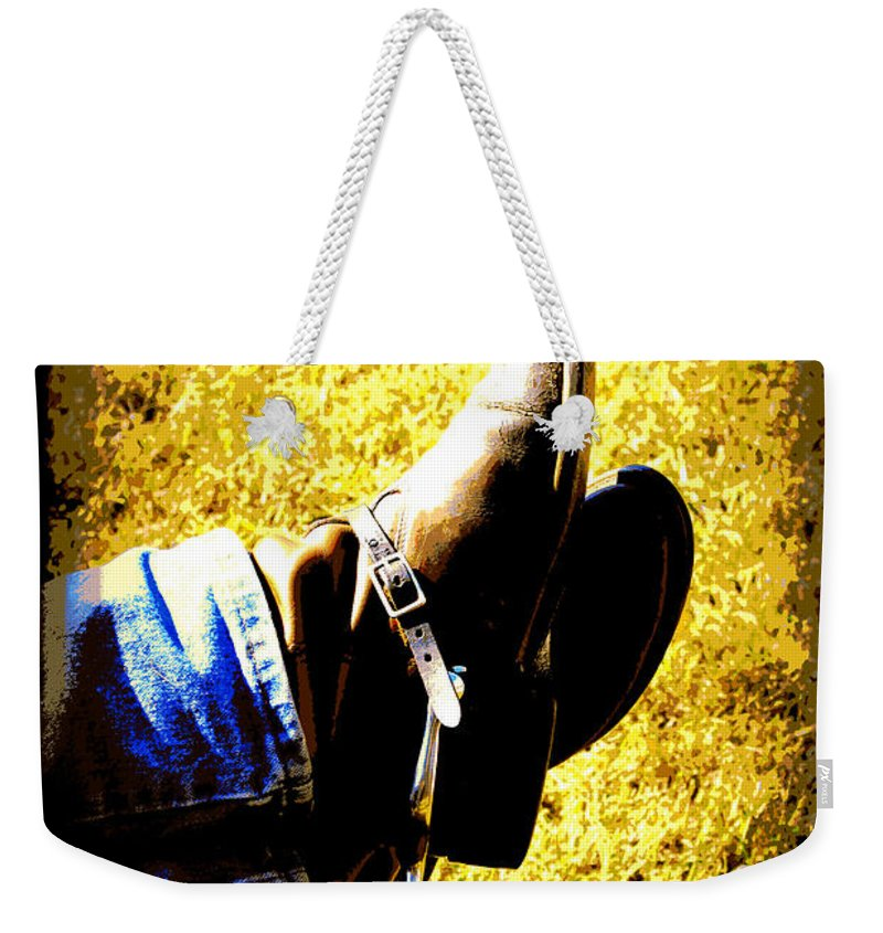 Boots Weekender Tote Bag featuring the digital art Boots1 by Tina Meador