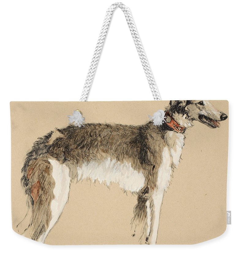 Dog; Dogs; Hound; Pet; Pets; Wolfhound Weekender Tote Bag featuring the painting Borzoi by Cecil Charles Windsor Aldin