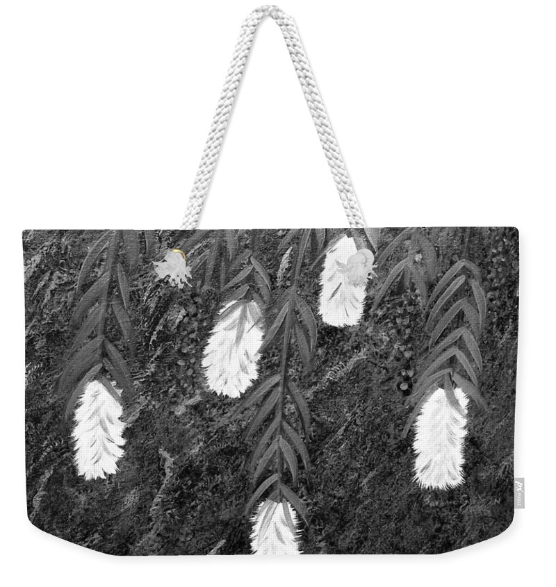 Bottlebrush Plant Weekender Tote Bag featuring the painting Bottlebrush Plant B W by Barbara Griffin