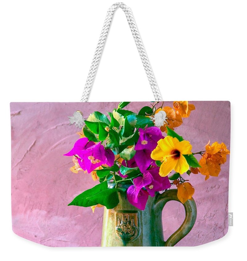 Still Life Weekender Tote Bag featuring the photograph Bougainvilleas In A Green Jar. Valencia. Spain by Juan Carlos Ferro Duque