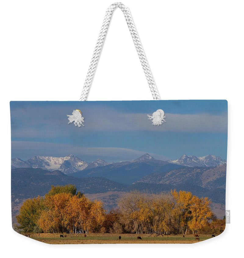 'front Range' Weekender Tote Bag featuring the photograph Boulder County Colorado Continental Divide Autumn View by James BO Insogna