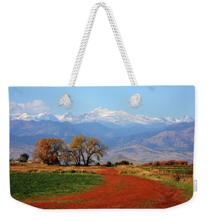 Boulder Weekender Tote Bag featuring the photograph Boulder County Colorado Landscape Red Road Autumn View by James BO Insogna