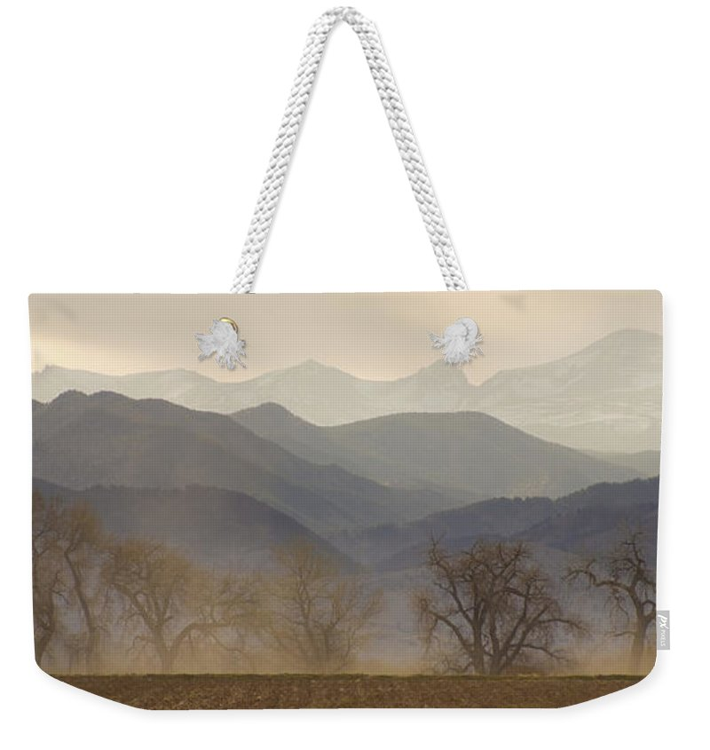 Foothills Weekender Tote Bag featuring the photograph Boulder County Colorado Layers Panorama by James BO Insogna