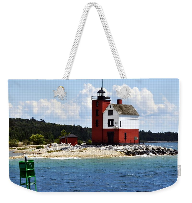 Mackinac Island Weekender Tote Bag featuring the photograph Round Island Light House Michigan by Marysue Ryan