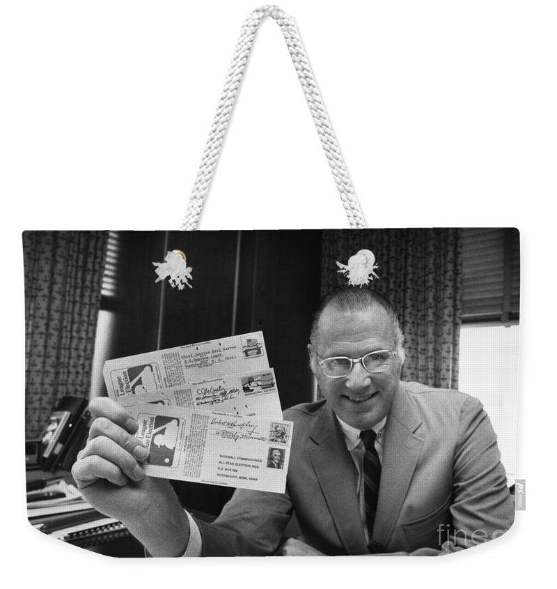 1970 Weekender Tote Bag featuring the photograph Bowie Kuhn (1926-2007) by Granger