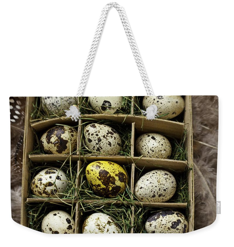 Bird Weekender Tote Bag featuring the photograph Box Of Quail Eggs by Garry Gay