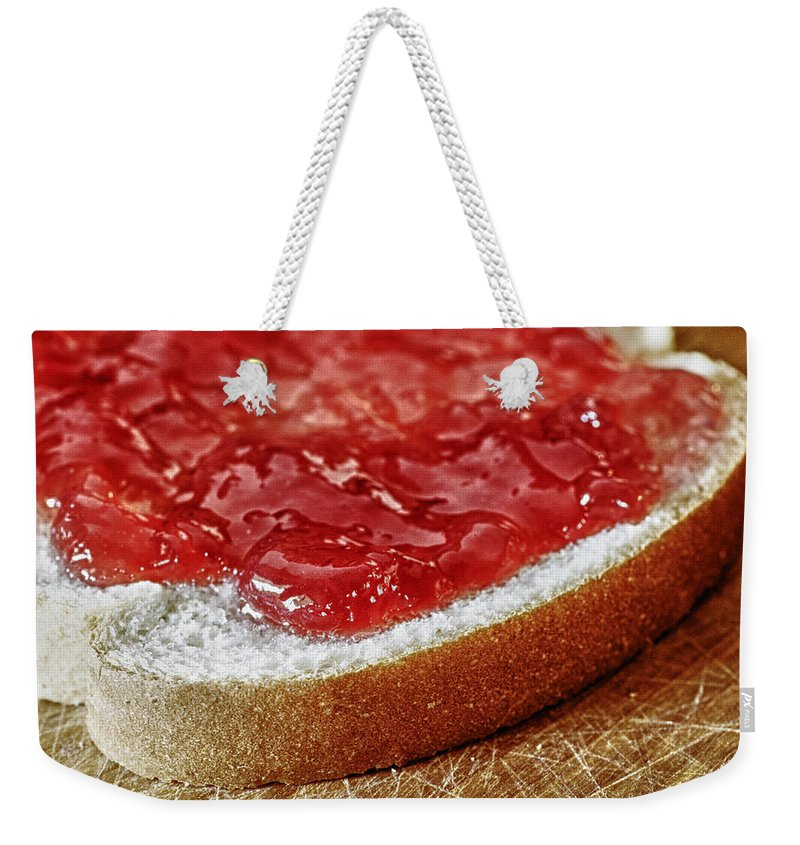 Food Weekender Tote Bag featuring the photograph Bread And Jelly by Skip Nall
