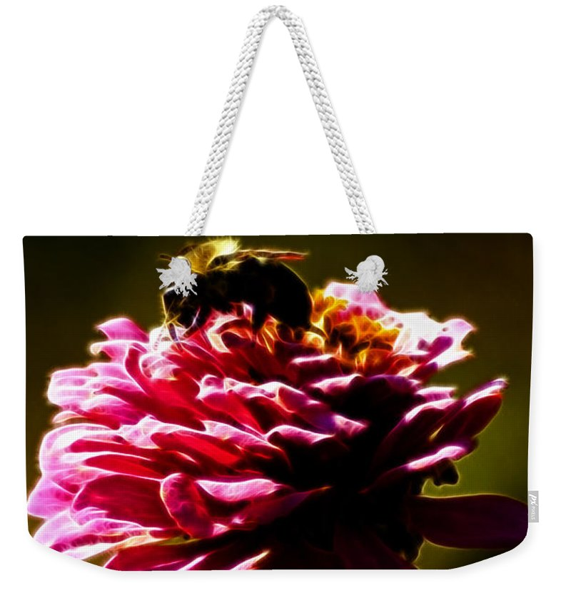 Zinnia Weekender Tote Bag featuring the photograph Breakfast Of Zinnias by Darleen Stry