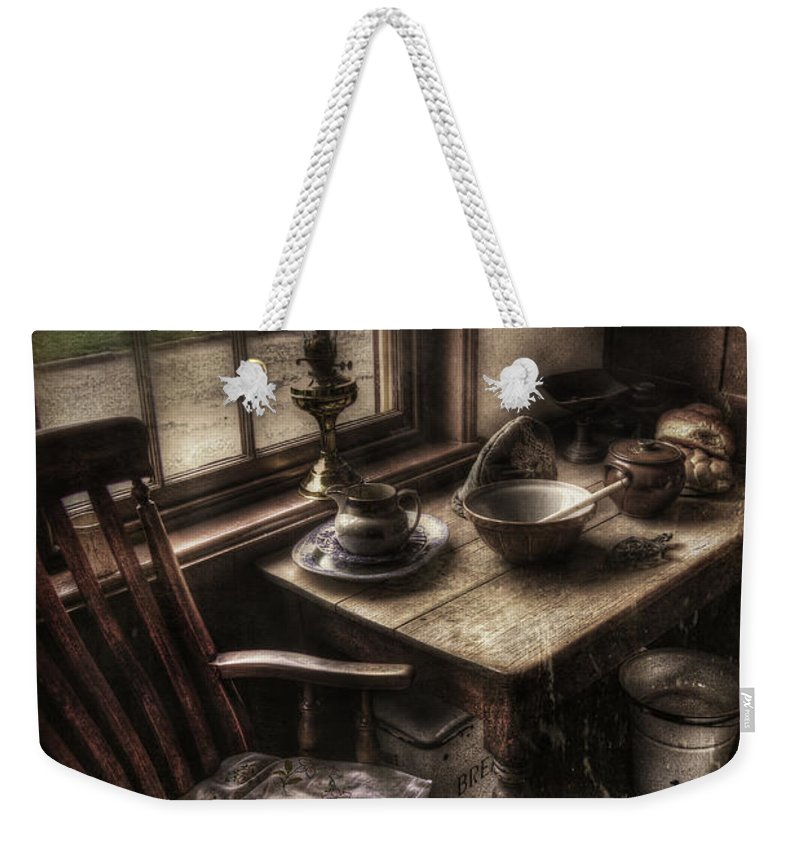 Table Weekender Tote Bag featuring the photograph Breakfast Table by Yhun Suarez