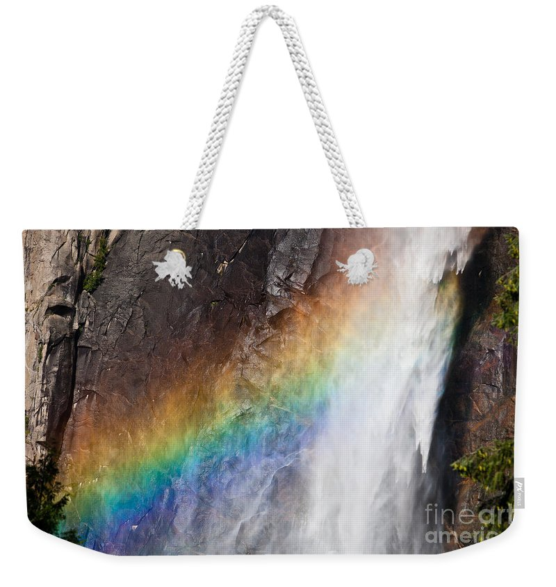 Granite Weekender Tote Bag featuring the photograph Bridalveil Fall Rainbow by Olivier Steiner
