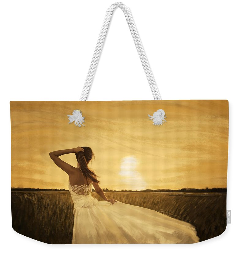 Adult Weekender Tote Bag featuring the painting Bride In Yellow Field On Sunset by Setsiri Silapasuwanchai