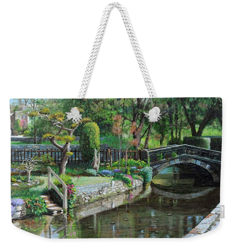 Scenic; Peak District; Garden; Flowers; Flower; Tranquil; Serene; English Landscape; Bridge; Bakewell; Derbyshire ; Tree; Trees; Water; Stairs Weekender Tote Bag featuring the painting Bridge And Garden - Bakewell - Derbyshire by Trevor Neal