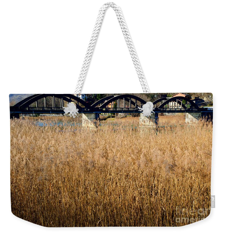 Bridge Weekender Tote Bag featuring the photograph Bridge And Pampas Grass by Mats Silvan