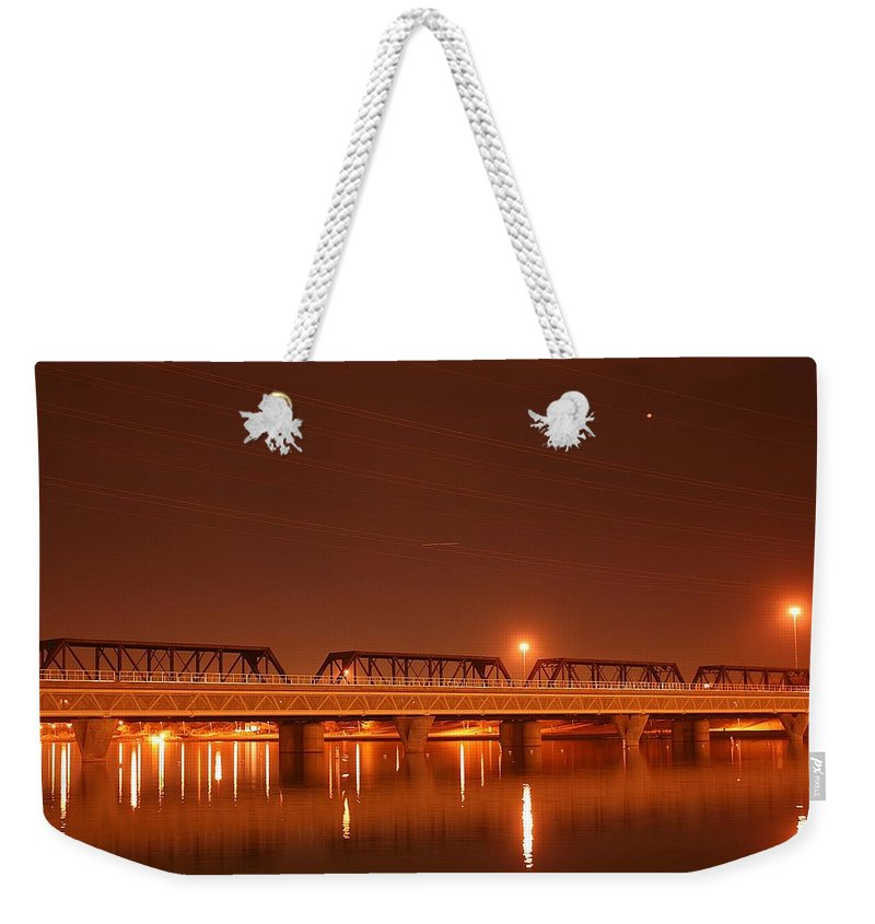 Bridge Weekender Tote Bag featuring the photograph Bridge In The Mist by Louise Mingua