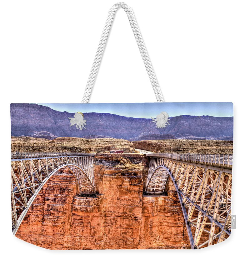 Lees Ferry Arizona Weekender Tote Bag featuring the photograph Bridges At Lees Ferry by Jon Berghoff