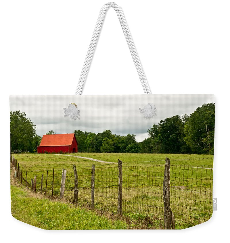 Brilliant Weekender Tote Bag featuring the photograph Brillant Red Barn by Douglas Barnett