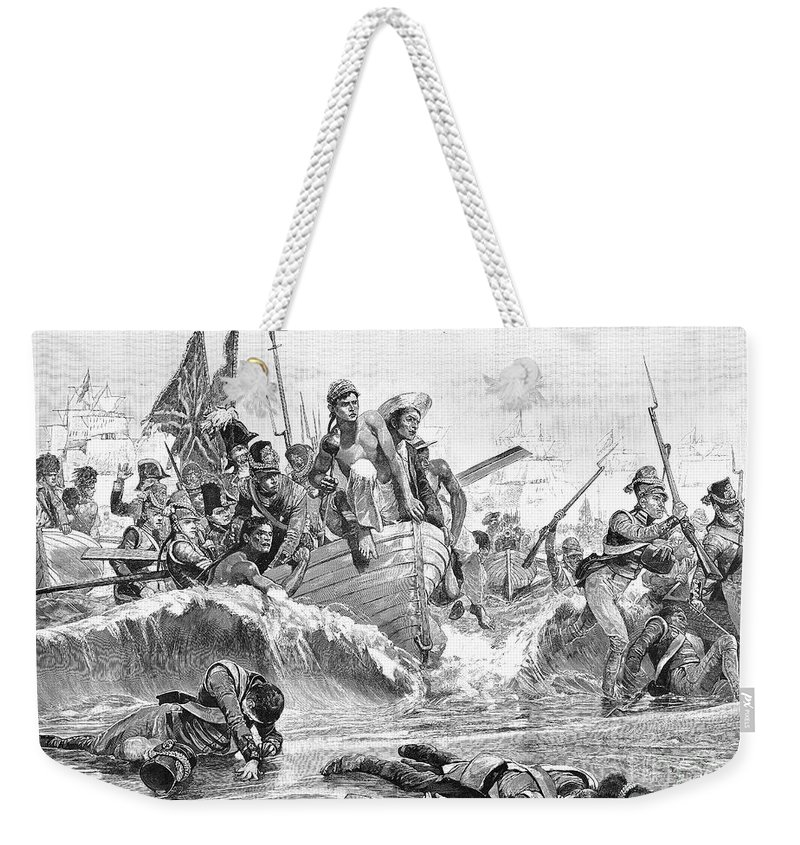 1801 Weekender Tote Bag featuring the photograph British At Aboukir, 1801 by Granger