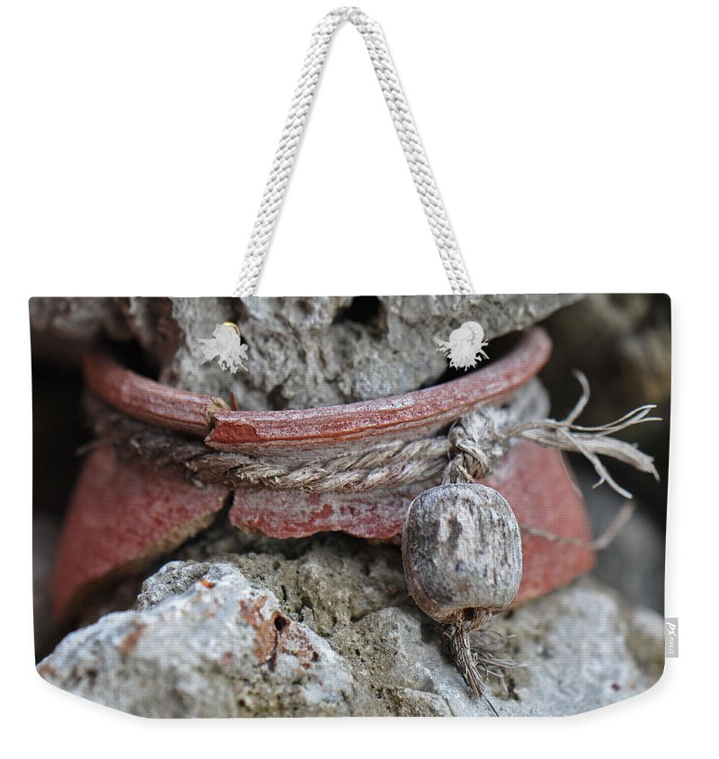 Pottery Weekender Tote Bag featuring the photograph Broken Pottery by Christine Stonebridge