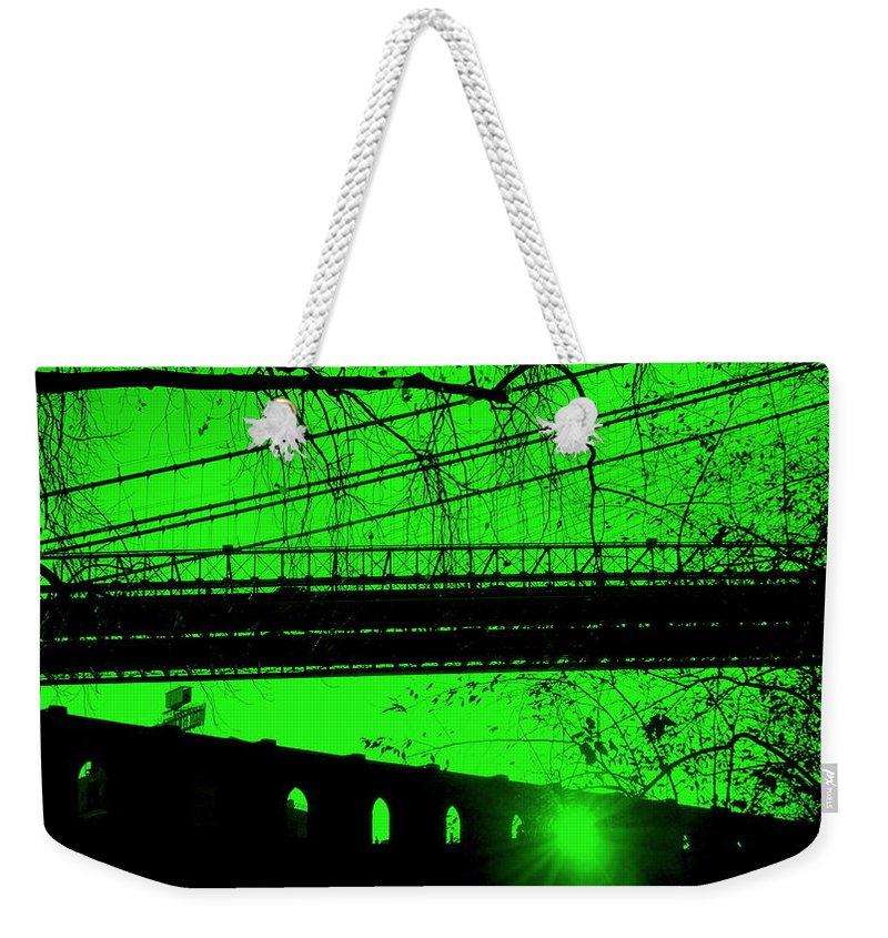 Brooklyn Weekender Tote Bag featuring the photograph Brooklyn Bridge In Green by Valentino Visentini