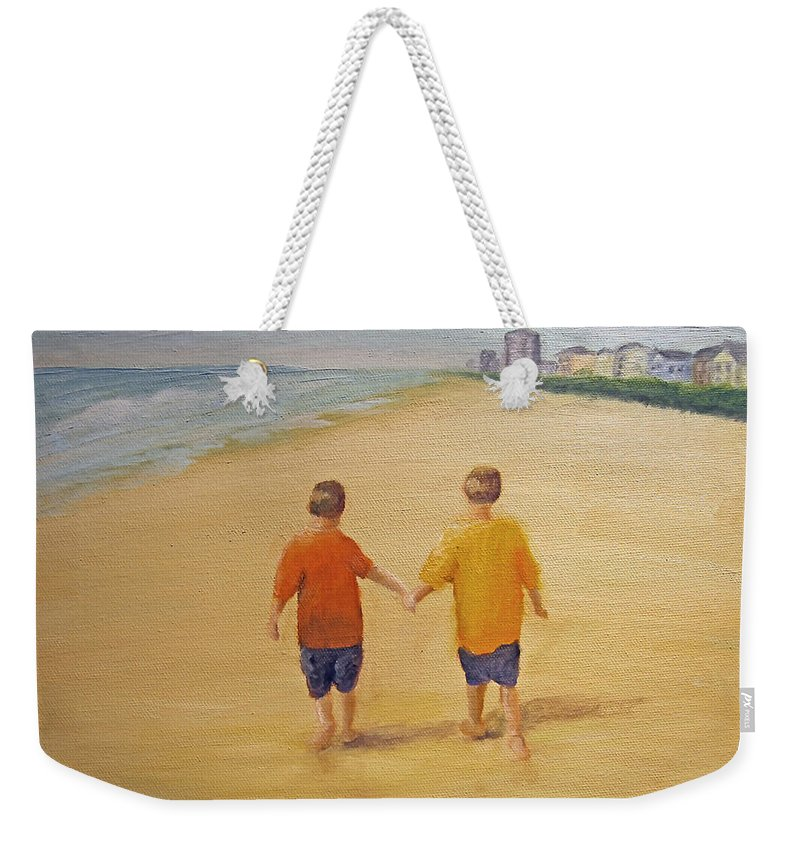Beach Weekender Tote Bag featuring the painting Brothers by Robin Chaffin
