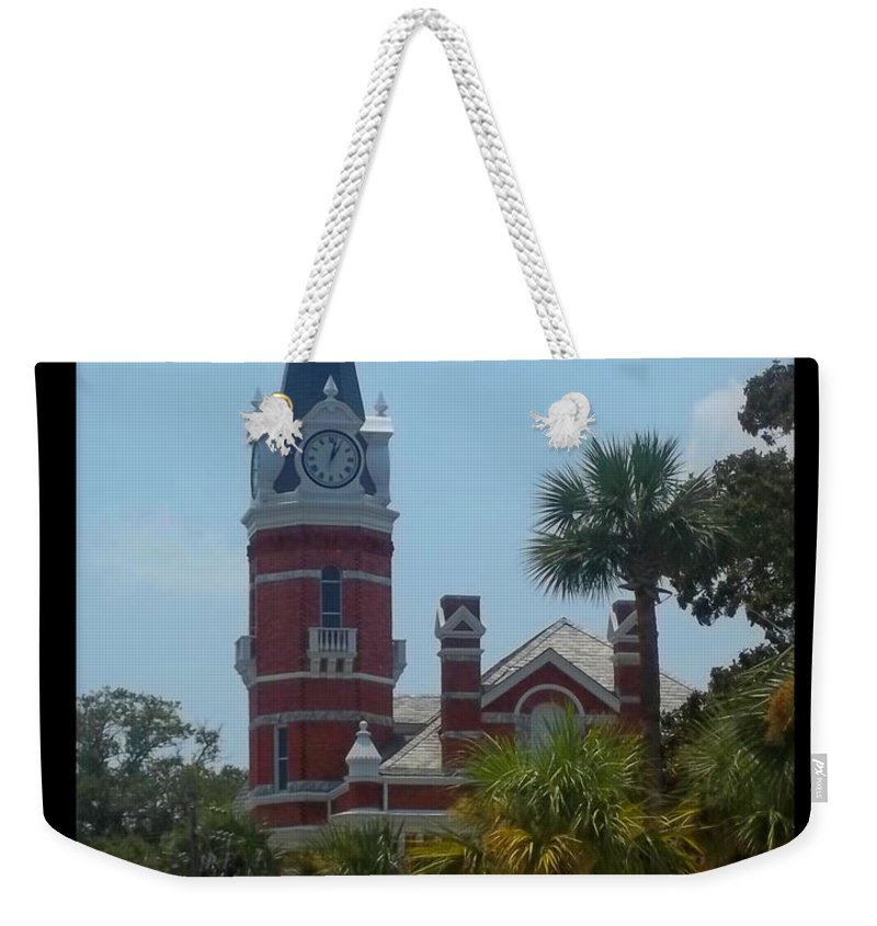 Clock Weekender Tote Bag featuring the photograph Brunswick Clock by Rebecca Stephens