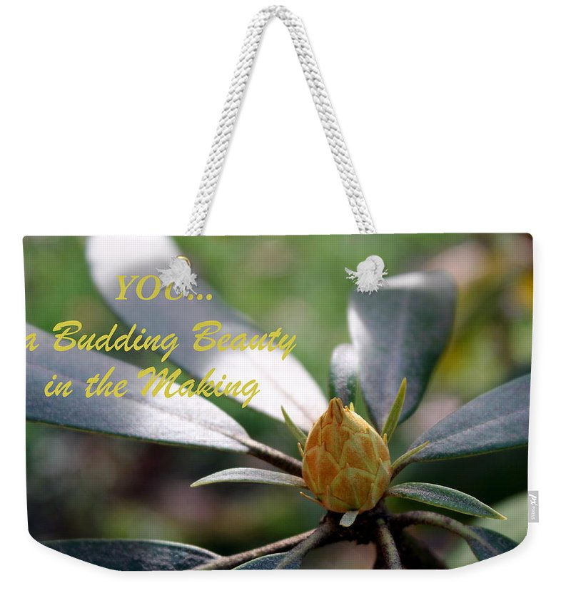 Bud Weekender Tote Bag featuring the photograph Budding Beauty by Deborah Crew-Johnson