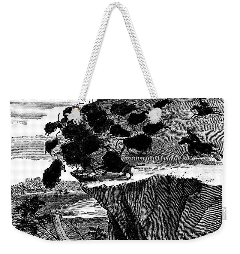 1834 Weekender Tote Bag featuring the photograph Buffalo Hunt, 1834 by Granger