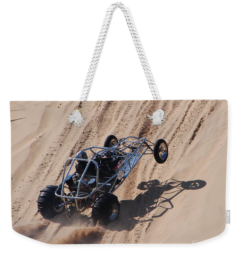 Dune Buggy Weekender Tote Bag featuring the photograph Buggy Climb by Grace Grogan