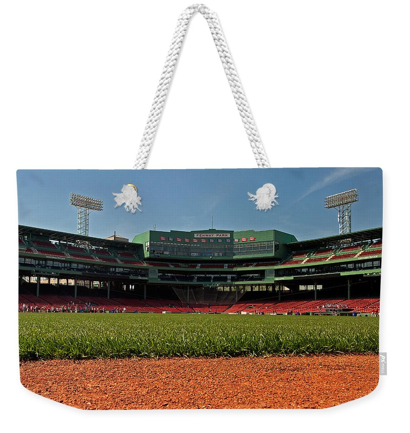 boston Red Sox Weekender Tote Bag featuring the Bugs Eye View From Center Field by Paul Mangold