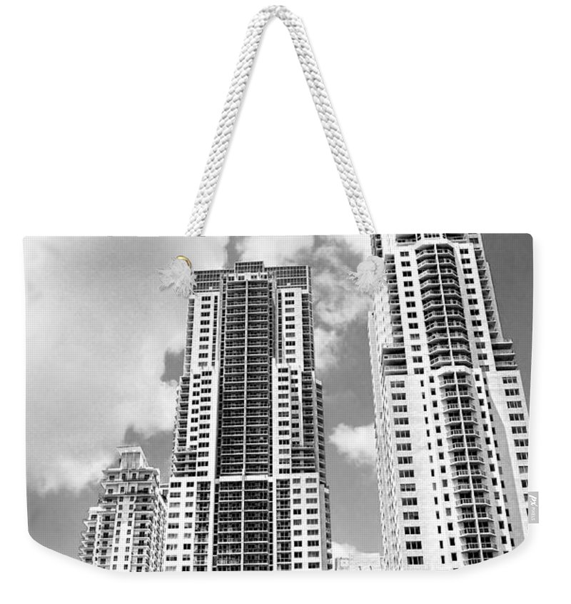 City Weekender Tote Bag featuring the photograph Buildings Downtown Miami by Rudy Umans