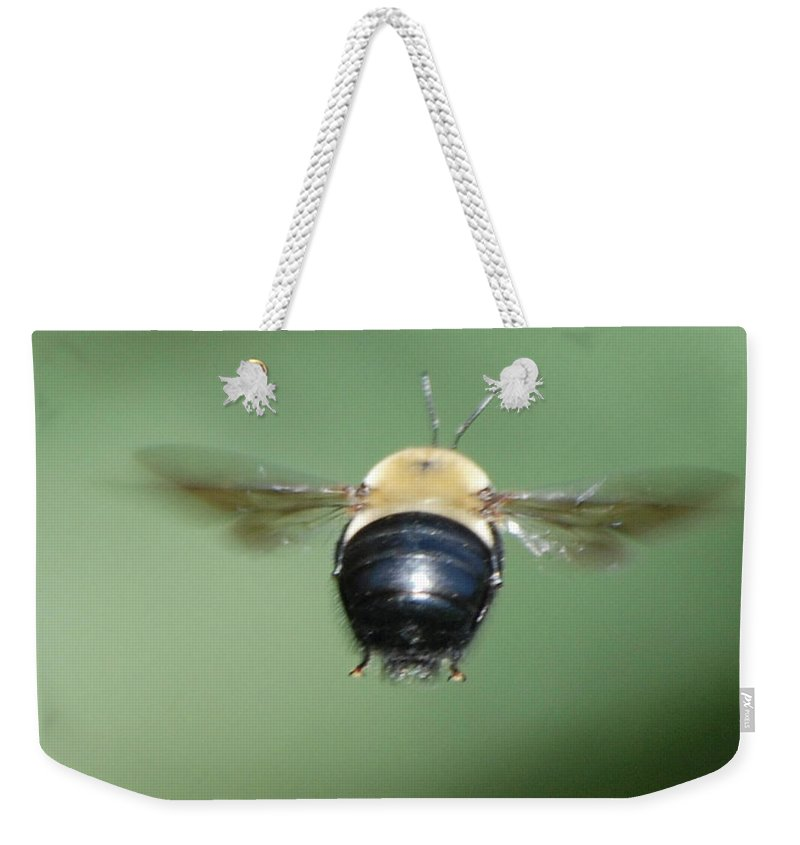 Bumble Bee Weekender Tote Bag featuring the photograph Bumble Bee 3 by Thomas Woolworth