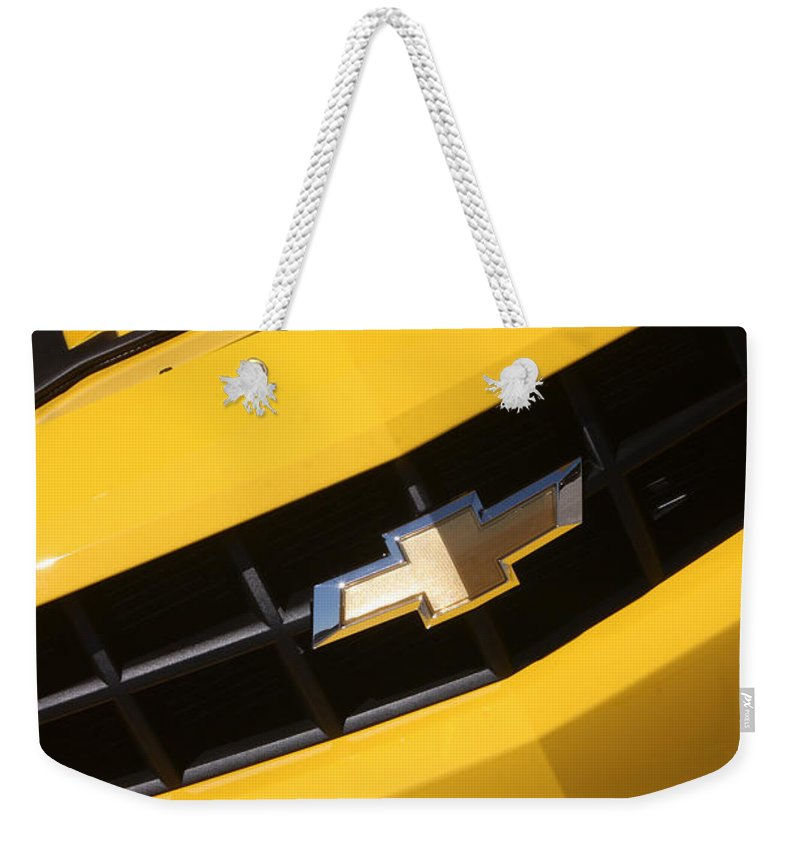 2011 Chevrolet Camaro Weekender Tote Bag featuring the photograph Bumble Bee Grill-7921 by Gary Gingrich Galleries