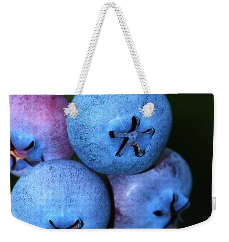 Blueberry Weekender Tote Bag featuring the photograph Bunch Of Blueberries by Sharon Talson