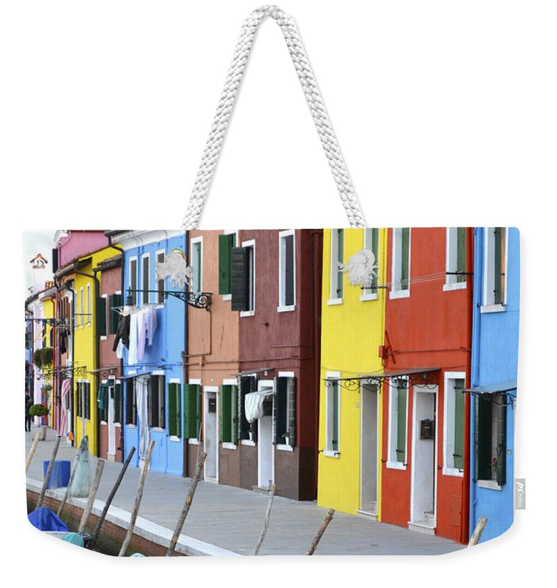 Burano Weekender Tote Bag featuring the photograph Burano Italy 2 by Rebecca Margraf