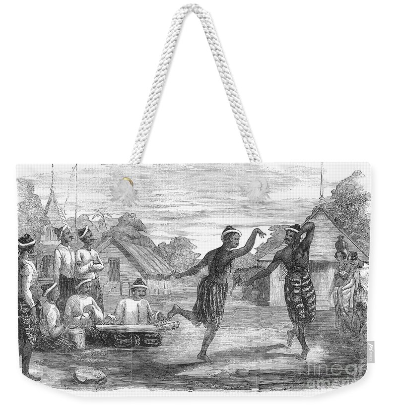 1853 Weekender Tote Bag featuring the photograph Burma: Dance, 1853 by Granger
