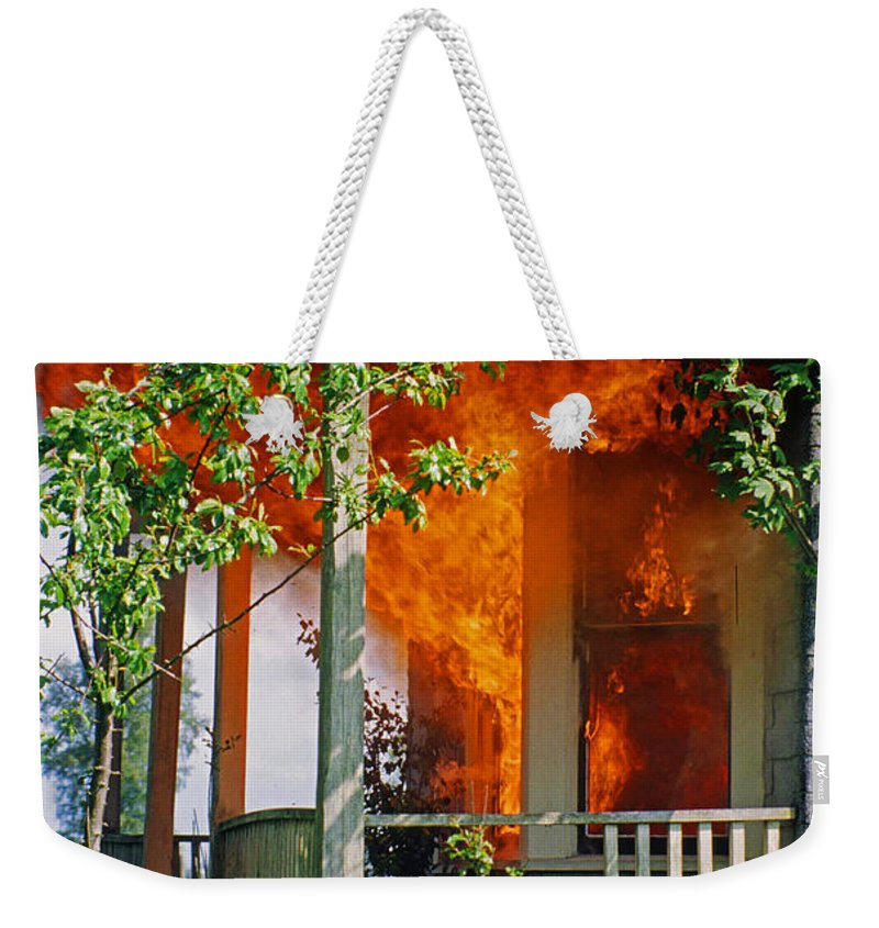 Fire Weekender Tote Bag featuring the photograph Burning House by Randy Harris