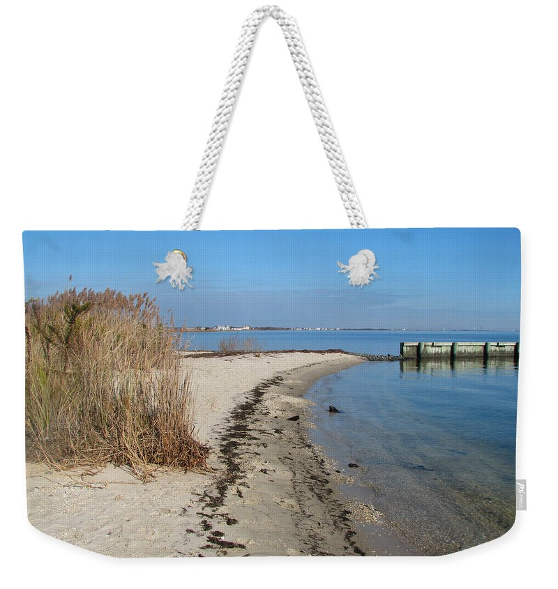 Jersey Shore Weekender Tote Bag featuring the painting Butler Beach by Clara Sue Beym